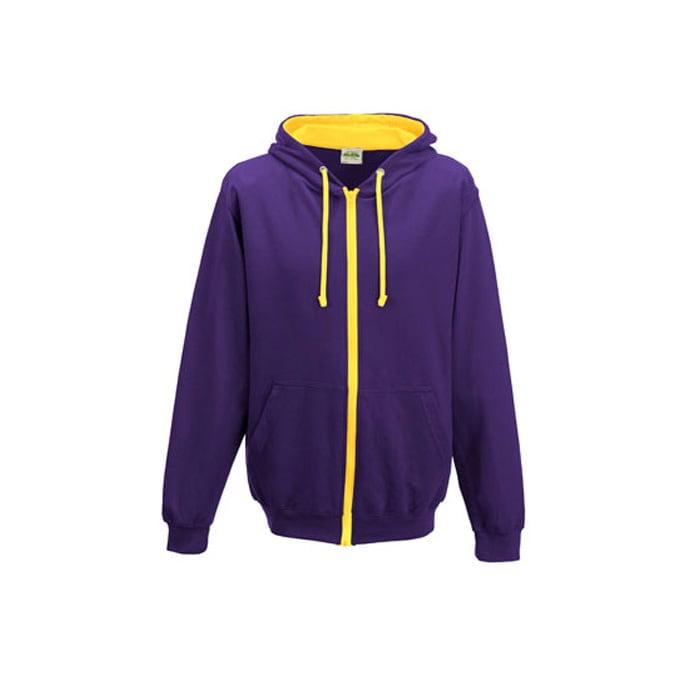Bluzy - Bluza dwukolorowa Varsity Zoodie - Just Hoods JH053 - Purple/Sun Yellow - RAVEN - koszulki reklamowe z nadrukiem, odzież reklamowa i gastronomiczna