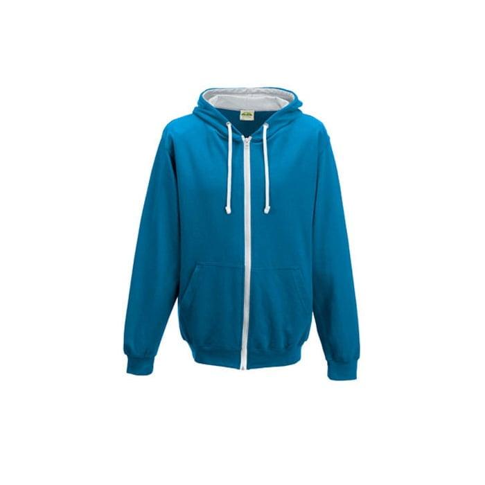 Bluzy - Bluza dwukolorowa Varsity Zoodie - Just Hoods JH053 - Sapphire Blue/Heather Grey - RAVEN - koszulki reklamowe z nadrukiem, odzież reklamowa i gastronomiczna