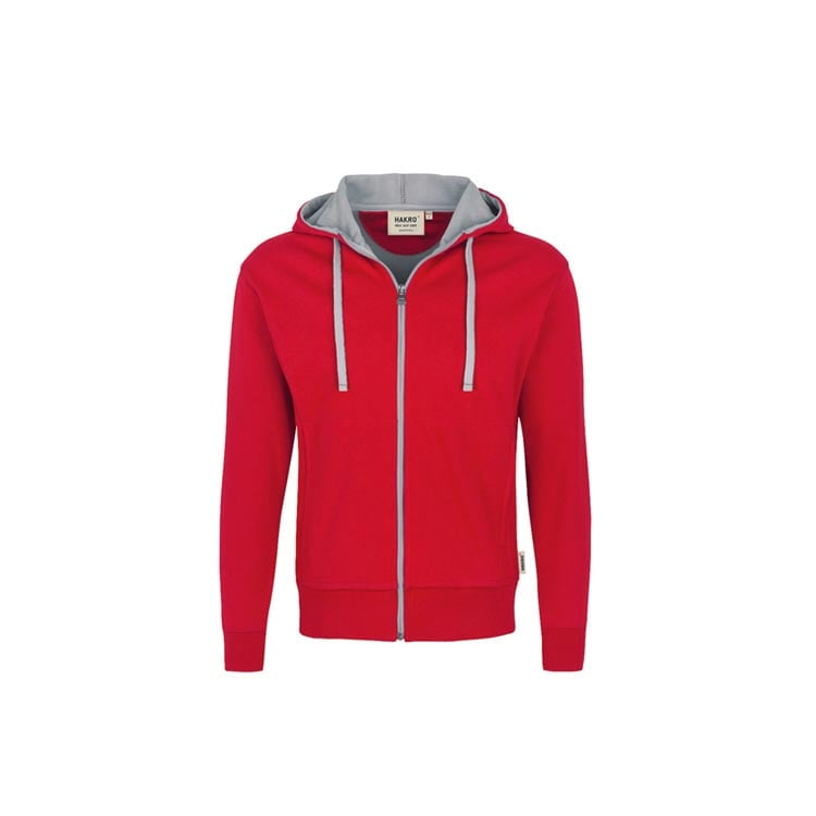 Bluzy - Męska bluza z kapturem 455 - Hakro 455 - Red - RAVEN - koszulki reklamowe z nadrukiem, odzież reklamowa i gastronomiczna