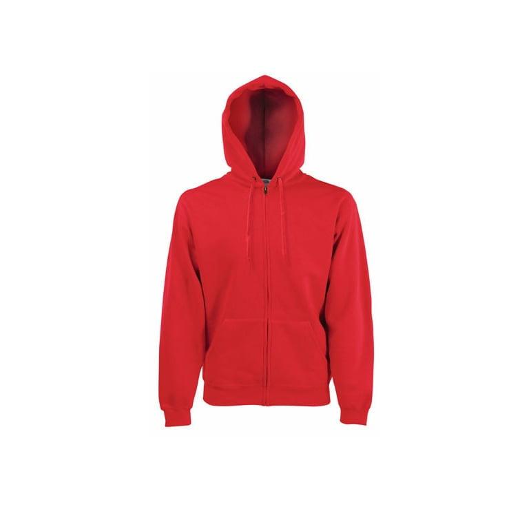 Bluzy - Klasyczna bluza z zamkiem Hooded - 62-062-0 - Red - RAVEN - koszulki reklamowe z nadrukiem, odzież reklamowa i gastronomiczna