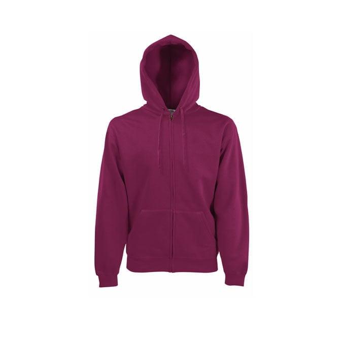 Bluzy - Bluza z zamkiem Premium Hooded - Fruit of the Loom 62-034-0 - Burgundy - RAVEN - koszulki reklamowe z nadrukiem, odzież reklamowa i gastronomiczna