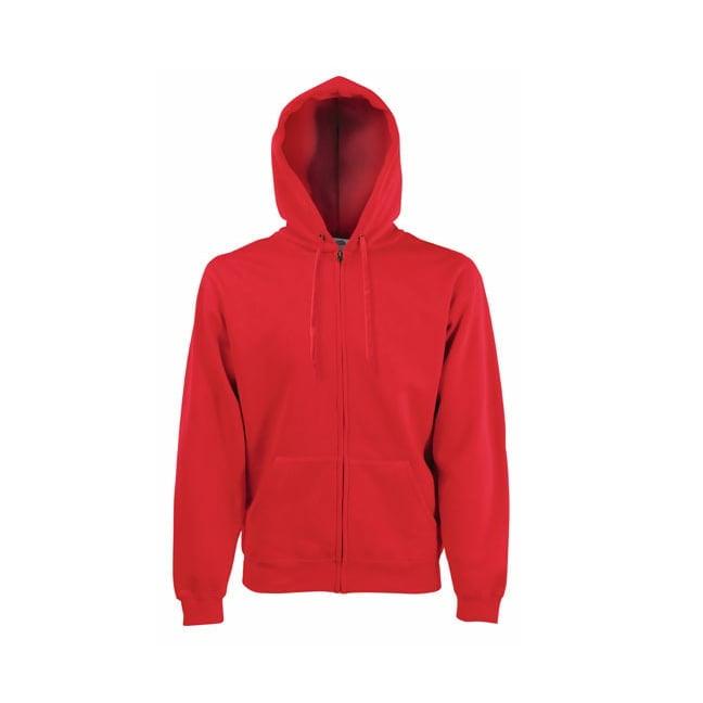 Bluzy - Bluza z zamkiem Premium Hooded - Fruit of the Loom 62-034-0 - Red - RAVEN - koszulki reklamowe z nadrukiem, odzież reklamowa i gastronomiczna