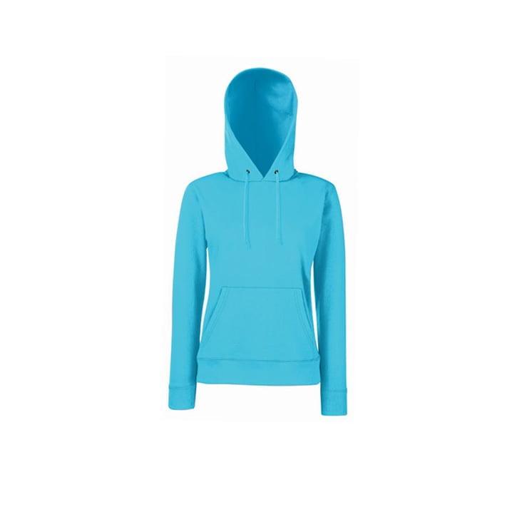 Bluzy - Klasyczna bluza z kapturem Lady-Fit - Fruit of the Loom 62-038-0 - Azure - RAVEN - koszulki reklamowe z nadrukiem, odzież reklamowa i gastronomiczna