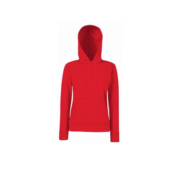 Bluzy - Klasyczna bluza z kapturem Lady-Fit - Fruit of the Loom 62-038-0 - Red - RAVEN - koszulki reklamowe z nadrukiem, odzież reklamowa i gastronomiczna