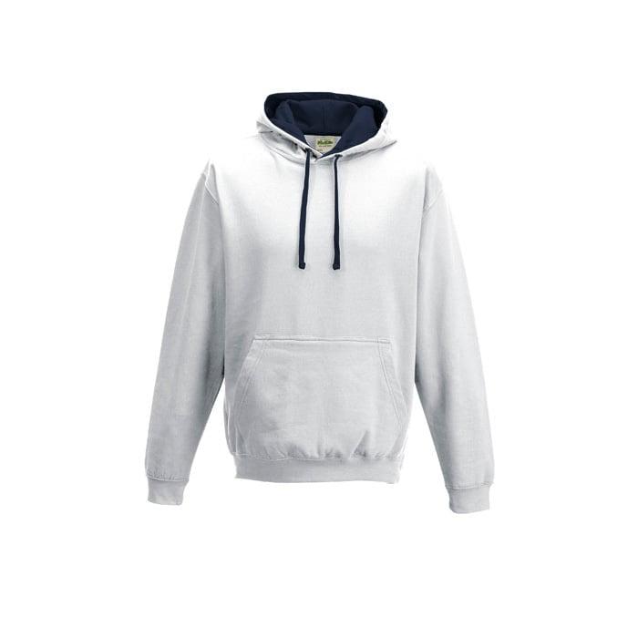 Bluzy - Bluza z kapturem Varsity Hoodie - Just Hoods JH003 - Arctic White/French Navy - RAVEN - koszulki reklamowe z nadrukiem, odzież reklamowa i gastronomiczna