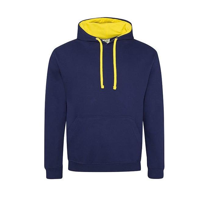 Bluzy - Bluza z kapturem Varsity Hoodie - Just Hoods JH003 - Oxford Navy/Sun Yellow - RAVEN - koszulki reklamowe z nadrukiem, odzież reklamowa i gastronomiczna