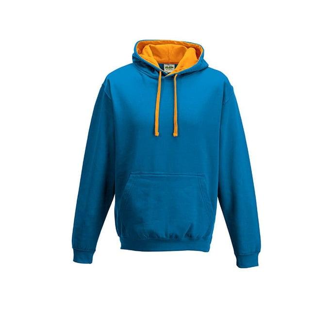 Bluzy - Bluza z kapturem Varsity Hoodie - Just Hoods JH003 - Sapphire Blue/Orange Crush - RAVEN - koszulki reklamowe z nadrukiem, odzież reklamowa i gastronomiczna