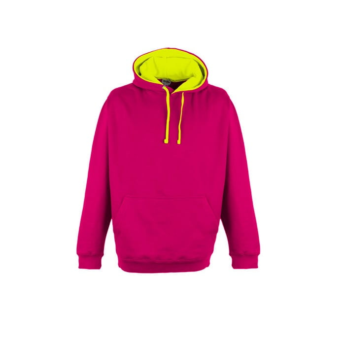 Bluzy - Bluza z kapturem Superbright - Just Hoods JH013 - Hot Pink/Electric Yellow - RAVEN - koszulki reklamowe z nadrukiem, odzież reklamowa i gastronomiczna