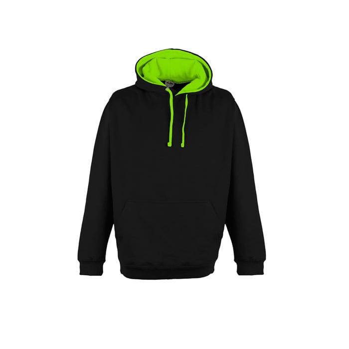 Bluzy - Bluza z kapturem Superbright - Just Hoods JH013 - Jet Black/Electric Green - RAVEN - koszulki reklamowe z nadrukiem, odzież reklamowa i gastronomiczna
