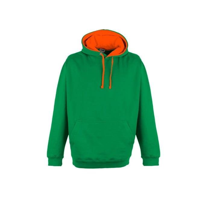 Bluzy - Bluza z kapturem Superbright - Just Hoods JH013 - Kelly Green/Electric Orange - RAVEN - koszulki reklamowe z nadrukiem, odzież reklamowa i gastronomiczna