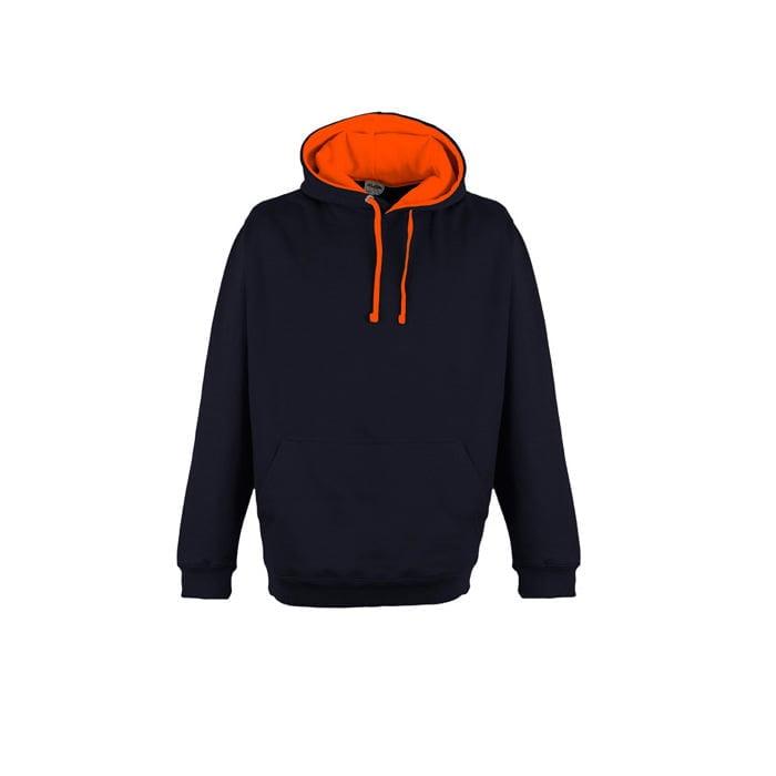 Bluzy - Bluza z kapturem Superbright - Just Hoods JH013 - Oxford Navy/Electric Orange - RAVEN - koszulki reklamowe z nadrukiem, odzież reklamowa i gastronomiczna