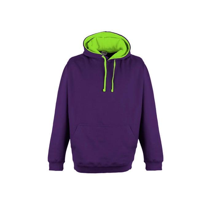 Bluzy - Bluza z kapturem Superbright - Just Hoods JH013 - Purple/Electric Green - RAVEN - koszulki reklamowe z nadrukiem, odzież reklamowa i gastronomiczna
