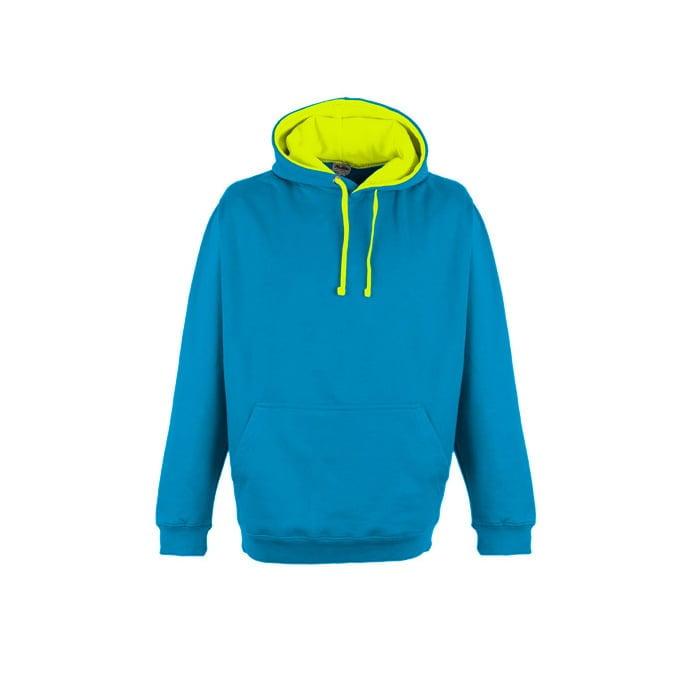 Bluzy - Bluza z kapturem Superbright - Just Hoods JH013 - Sapphire Blue/Electric Yellow - RAVEN - koszulki reklamowe z nadrukiem, odzież reklamowa i gastronomiczna