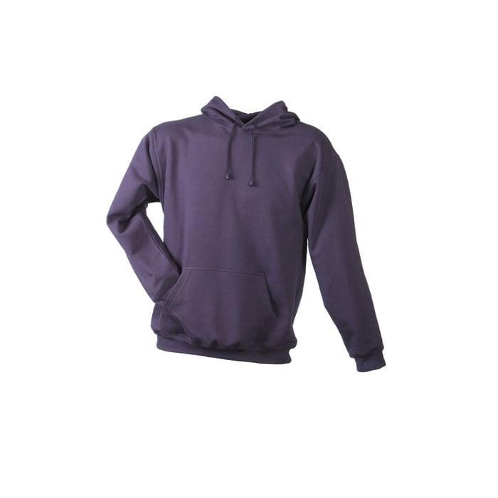 Bluzy - Męska bluza bez zamka Hooded Jacket - James & Nicholson JN047 - Aubergine - RAVEN - koszulki reklamowe z nadrukiem, odzież reklamowa i gastronomiczna