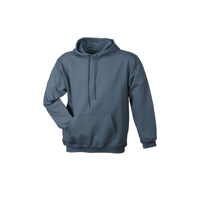 Bluzy - Męska bluza bez zamka Hooded Jacket - James & Nicholson JN047 - Carbon - RAVEN - koszulki reklamowe z nadrukiem, odzież reklamowa i gastronomiczna