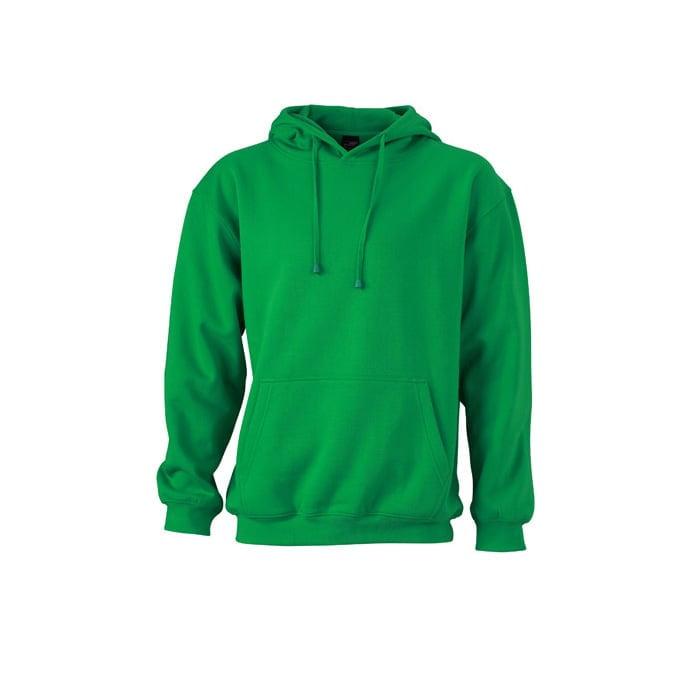 Bluzy - Męska bluza bez zamka Hooded Jacket - James & Nicholson JN047 - Fern Green - RAVEN - koszulki reklamowe z nadrukiem, odzież reklamowa i gastronomiczna