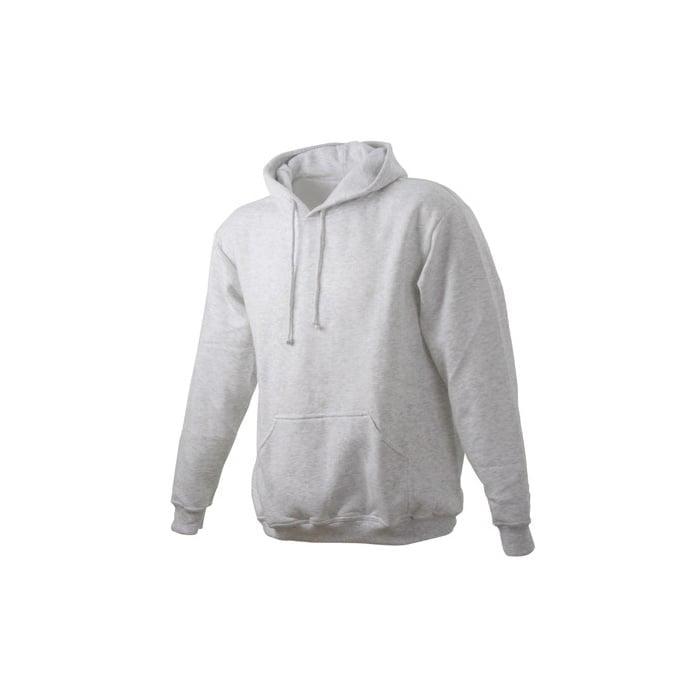 Bluzy - Męska bluza bez zamka Hooded Jacket - James & Nicholson JN047 - Heather Grey - RAVEN - koszulki reklamowe z nadrukiem, odzież reklamowa i gastronomiczna