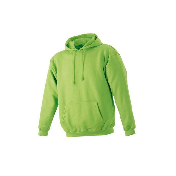 Bluzy - Męska bluza bez zamka Hooded Jacket - James & Nicholson JN047 - Lime Green - RAVEN - koszulki reklamowe z nadrukiem, odzież reklamowa i gastronomiczna