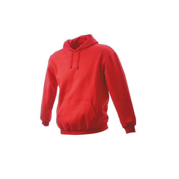 Bluzy - Męska bluza bez zamka Hooded Jacket - James & Nicholson JN047 - Red - RAVEN - koszulki reklamowe z nadrukiem, odzież reklamowa i gastronomiczna