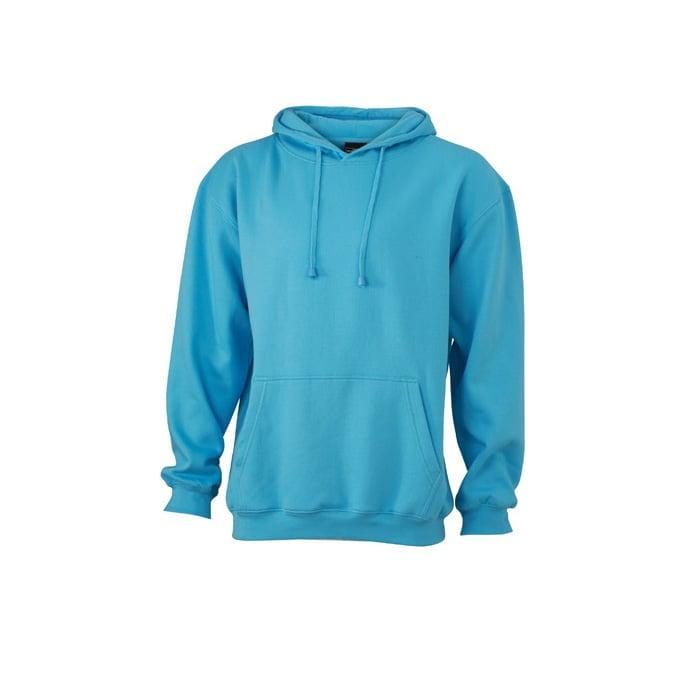 Bluzy - Męska bluza bez zamka Hooded Jacket - James & Nicholson JN047 - PacificSky Blue - RAVEN - koszulki reklamowe z nadrukiem, odzież reklamowa i gastronomiczna