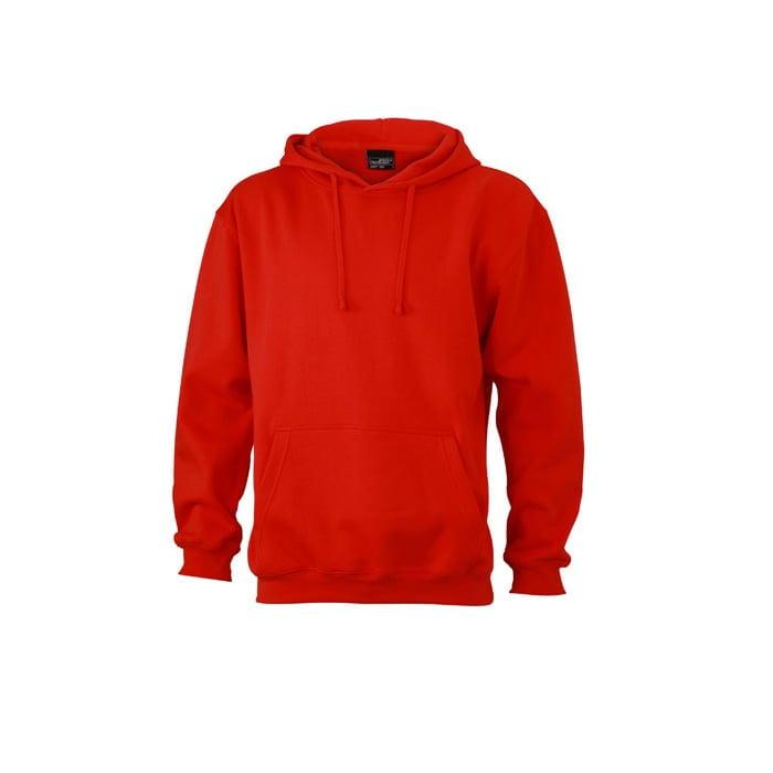 Bluzy - Męska bluza bez zamka Hooded Jacket - James & Nicholson JN047 - Tomato - RAVEN - koszulki reklamowe z nadrukiem, odzież reklamowa i gastronomiczna