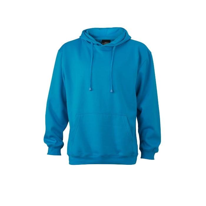 Bluzy - Męska bluza bez zamka Hooded Jacket - James & Nicholson JN047 - RAVEN - koszulki reklamowe z nadrukiem, odzież reklamowa i gastronomiczna