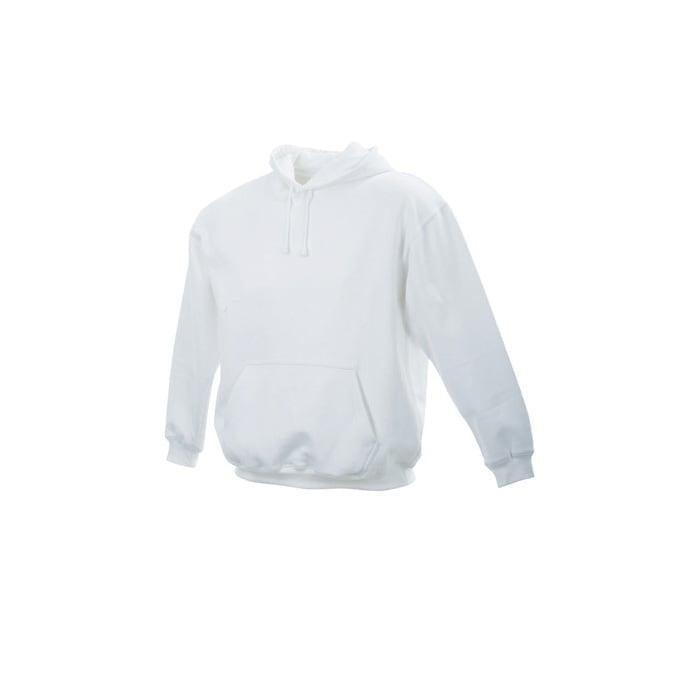Bluzy - Męska bluza bez zamka Hooded Jacket - James & Nicholson JN047 - White - RAVEN - koszulki reklamowe z nadrukiem, odzież reklamowa i gastronomiczna