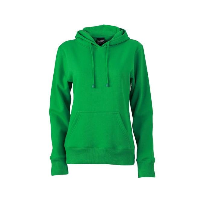 Bluzy - Damska bluza bez zamka Hooded Jacket - James & Nicholson JN051 - Fern Green - RAVEN - koszulki reklamowe z nadrukiem, odzież reklamowa i gastronomiczna