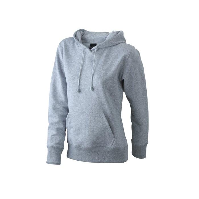 Bluzy - Damska bluza bez zamka Hooded Jacket - James & Nicholson JN051 - Heather Grey - RAVEN - koszulki reklamowe z nadrukiem, odzież reklamowa i gastronomiczna
