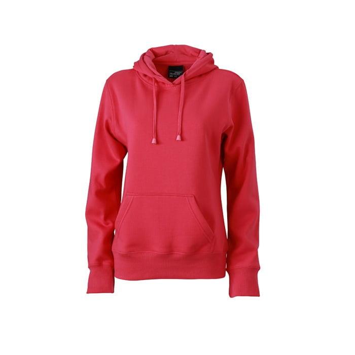 Bluzy - Damska bluza bez zamka Hooded Jacket - James & Nicholson JN051 - Pink - RAVEN - koszulki reklamowe z nadrukiem, odzież reklamowa i gastronomiczna