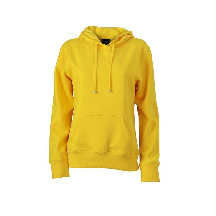 Bluzy - Damska bluza bez zamka Hooded Jacket - James & Nicholson JN051 - Sun Yellow - RAVEN - koszulki reklamowe z nadrukiem, odzież reklamowa i gastronomiczna