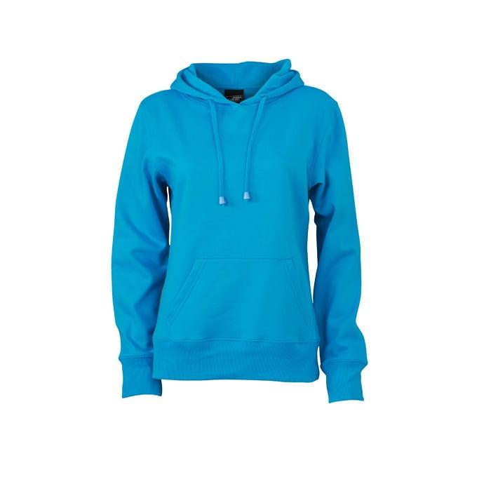 Bluzy - Damska bluza bez zamka Hooded Jacket - James & Nicholson JN051 - Turquoise - RAVEN - koszulki reklamowe z nadrukiem, odzież reklamowa i gastronomiczna