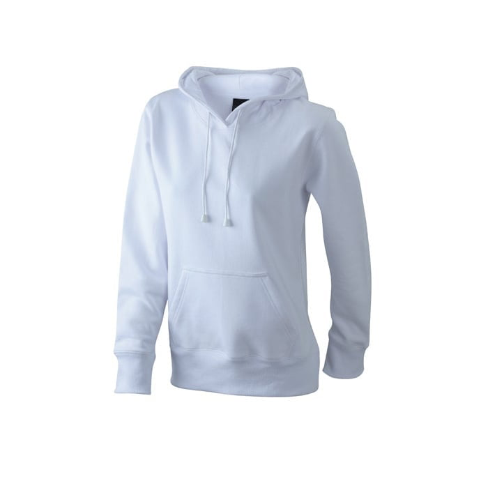 Bluzy - Damska bluza bez zamka Hooded Jacket - James & Nicholson JN051 - White - RAVEN - koszulki reklamowe z nadrukiem, odzież reklamowa i gastronomiczna