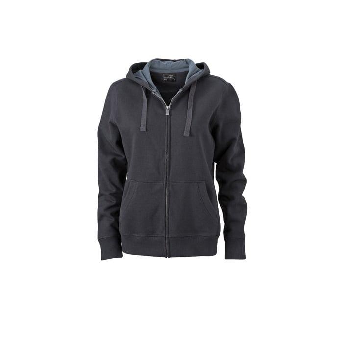 Bluzy - Damska bluza Hooded Jacket - James & Nicholson JN594 - Black - RAVEN - koszulki reklamowe z nadrukiem, odzież reklamowa i gastronomiczna