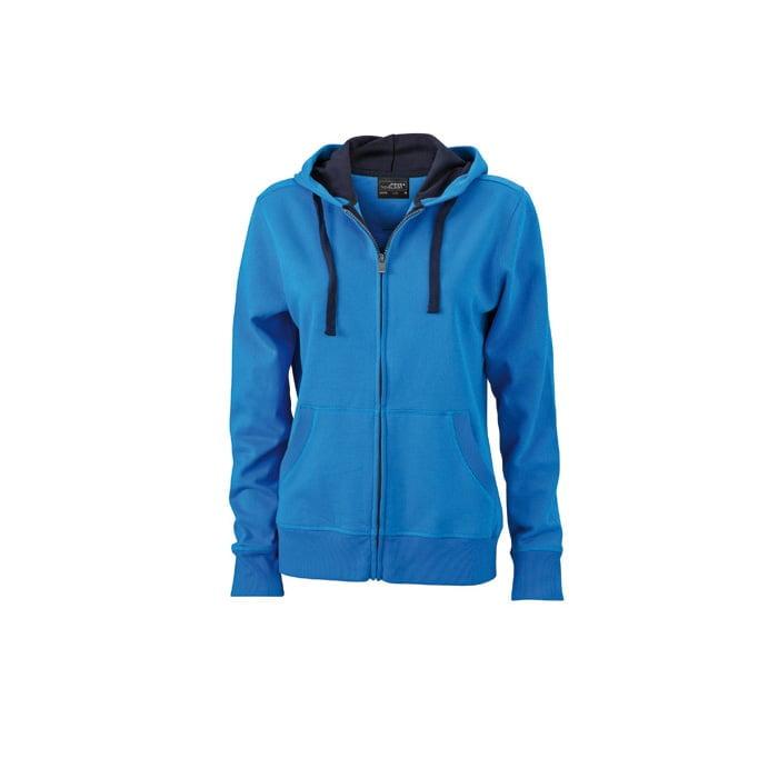 Bluzy - Damska bluza Hooded Jacket - James & Nicholson JN594 - Cobalt - RAVEN - koszulki reklamowe z nadrukiem, odzież reklamowa i gastronomiczna