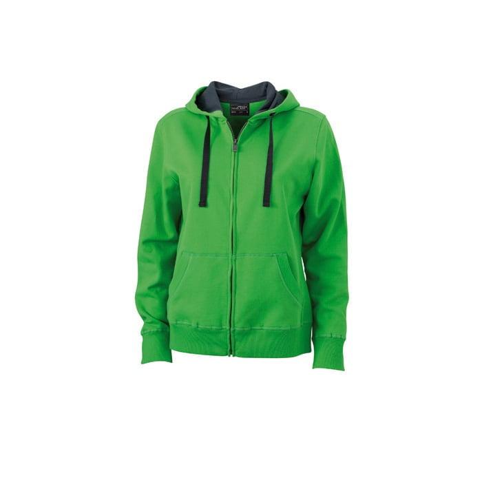 Bluzy - Damska bluza Hooded Jacket - James & Nicholson JN594 - Green - RAVEN - koszulki reklamowe z nadrukiem, odzież reklamowa i gastronomiczna