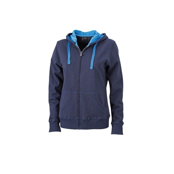 Bluzy - Damska bluza Hooded Jacket - James & Nicholson JN594 - Navy - RAVEN - koszulki reklamowe z nadrukiem, odzież reklamowa i gastronomiczna