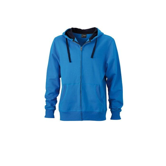 Bluzy - Męska bluza Hooded Jacket - James & Nicholson JN595 - Cobalt - RAVEN - koszulki reklamowe z nadrukiem, odzież reklamowa i gastronomiczna