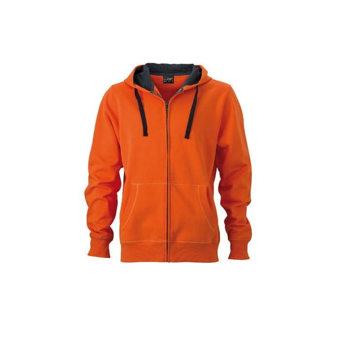Bluzy - Męska bluza Hooded Jacket - James & Nicholson JN595 - Dark Orange - RAVEN - koszulki reklamowe z nadrukiem, odzież reklamowa i gastronomiczna