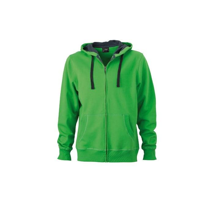 Bluzy - Męska bluza Hooded Jacket - James & Nicholson JN595 - Green - RAVEN - koszulki reklamowe z nadrukiem, odzież reklamowa i gastronomiczna