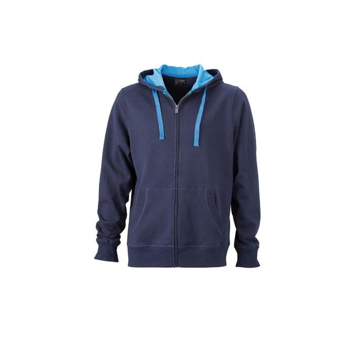 Bluzy - Męska bluza Hooded Jacket - James & Nicholson JN595 - Navy - RAVEN - koszulki reklamowe z nadrukiem, odzież reklamowa i gastronomiczna