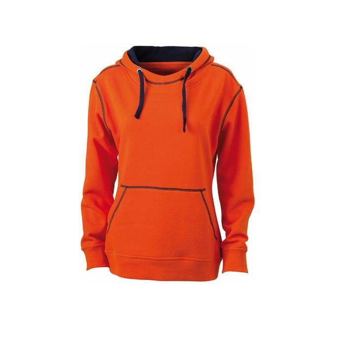 Bluzy - Damska bluza bez zamka Lifestyle - James & Nicholson JN960 - Dark Orange - RAVEN - koszulki reklamowe z nadrukiem, odzież reklamowa i gastronomiczna