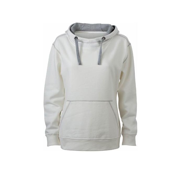 Bluzy - Damska bluza bez zamka Lifestyle - James & Nicholson JN960 - White - RAVEN - koszulki reklamowe z nadrukiem, odzież reklamowa i gastronomiczna