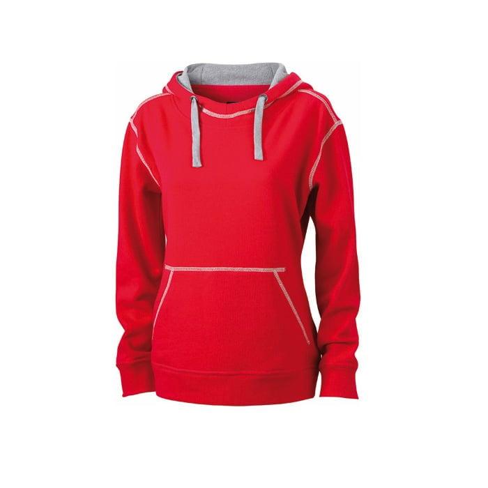 Bluzy - Damska bluza bez zamka Lifestyle - James & Nicholson JN960 - Red - RAVEN - koszulki reklamowe z nadrukiem, odzież reklamowa i gastronomiczna