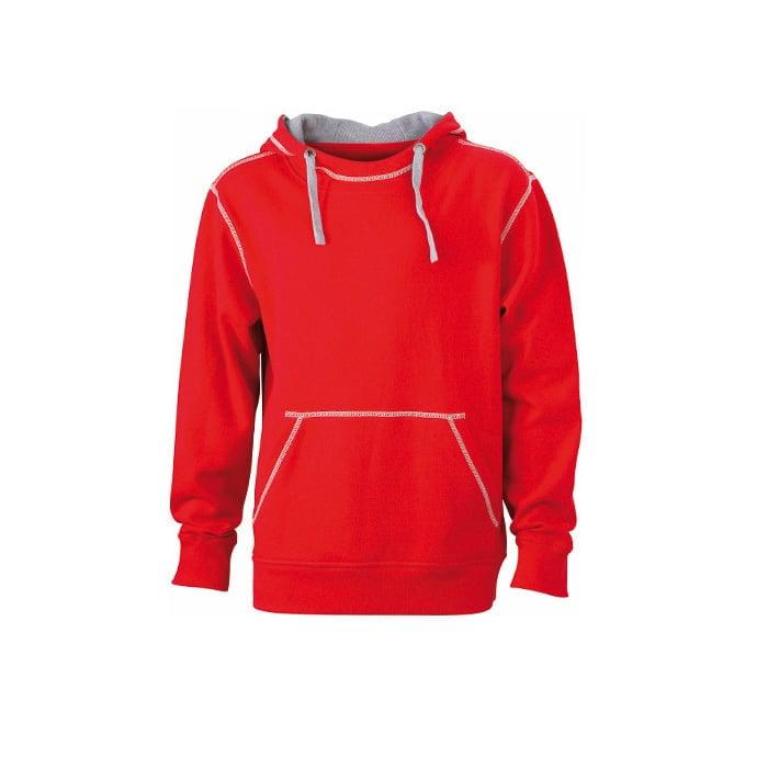 Bluzy - Męska bluza bez zamka Lifestyle - James & Nicholson JN961 - Red - RAVEN - koszulki reklamowe z nadrukiem, odzież reklamowa i gastronomiczna