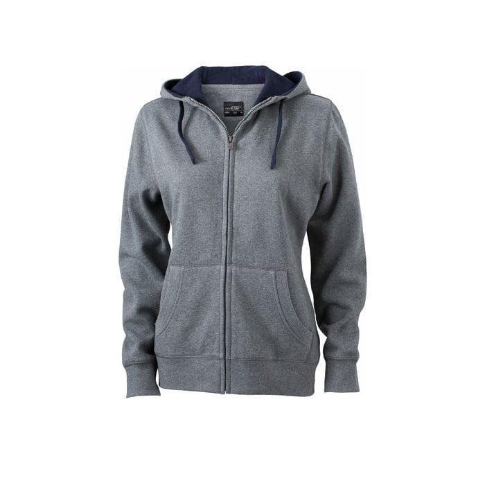 Bluzy - Damska bluza Lifestyle - James & Nicholson JN962 - Grey Melange - RAVEN - koszulki reklamowe z nadrukiem, odzież reklamowa i gastronomiczna