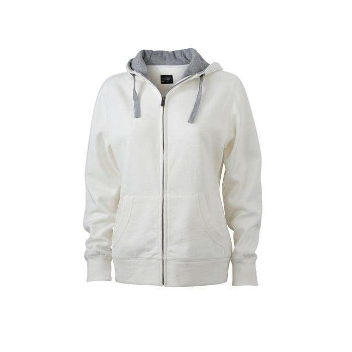 Bluzy - Damska bluza Lifestyle - James & Nicholson JN962 - White - RAVEN - koszulki reklamowe z nadrukiem, odzież reklamowa i gastronomiczna