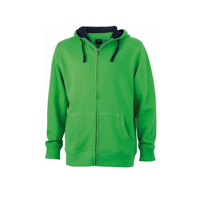 Bluzy - Męska bluza Lifestyle - James & Nicholson JN963 - Green - RAVEN - koszulki reklamowe z nadrukiem, odzież reklamowa i gastronomiczna