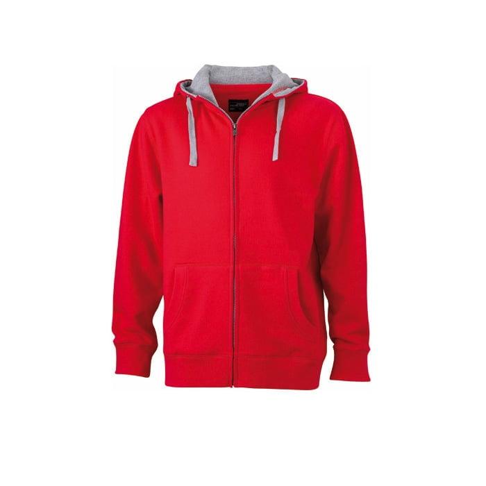 Bluzy - Męska bluza Lifestyle - James & Nicholson JN963 - Red - RAVEN - koszulki reklamowe z nadrukiem, odzież reklamowa i gastronomiczna