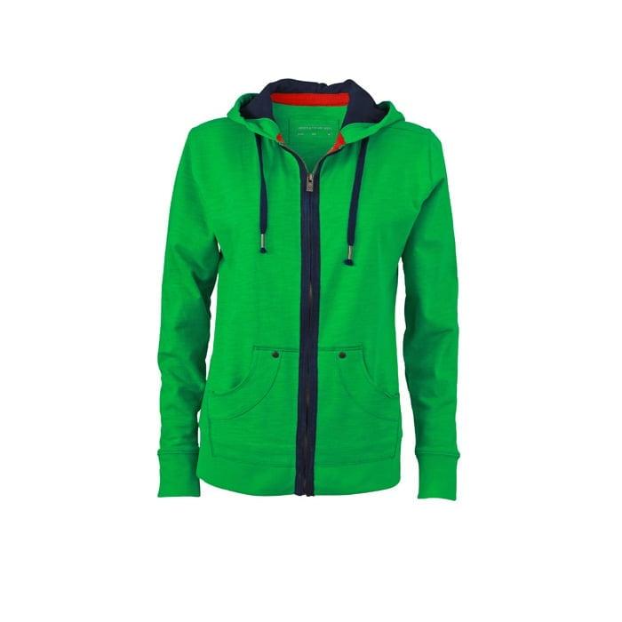 Bluzy - Damska bluza z kapturem Urban Hooded - James & Nicholson JN981 - Green - RAVEN - koszulki reklamowe z nadrukiem, odzież reklamowa i gastronomiczna
